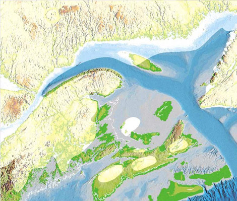 Drawing of the ice sheet on the Gulf of Saint Lawrence, 10,000 years ago
