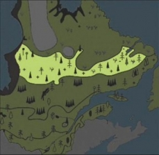 Drawing of the distribution area of the shrub taiga in the Quebec province, 6,000 years ago